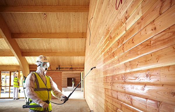 Огнебиозащитное покрытие деревянных конструкций составом пирилакс